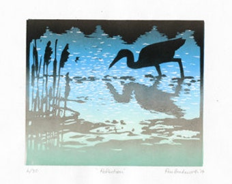 Reflection, Linocut Print