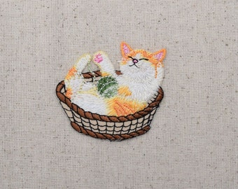 Cat in Basket - Playing with Yarn Ball - Pets - Iron on Applique - Embroidered Patch - 158636-A