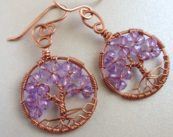 Festival Jewelry Amethyst Tree-Of-Life Earring Copper Boho Earring Amethyst Jewelry February Birthstone Pisces Talisman Hippie Jewelry
