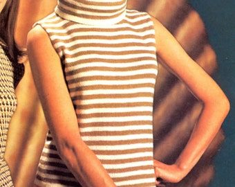 Womens Retro Striped Sleeveless Shell with Wide Turtleneck Knitting Pattern from the 70s
