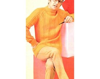 Men's Retro Jumper Knitting Pattern from the 60s
