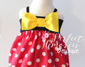 Minnie Mouse Romper   Bubble Romper   Baby Minnie Mouse   Disney Vacation   Classic Minnie Mouse   First Birthday   First Disney Trip