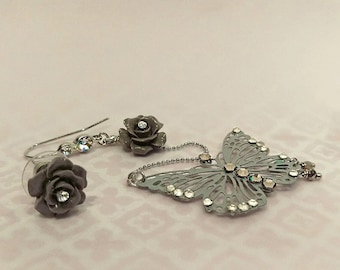 Asymmetrical Butterfly Earrings, Asymmetrical Flower Earrings, Butterfly and Rose Earrings (Grey)