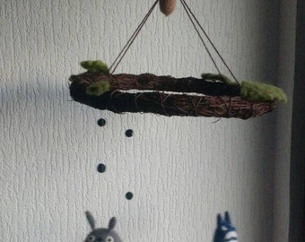 Spirit of the forest (totoro) mobilé (needlefelted)