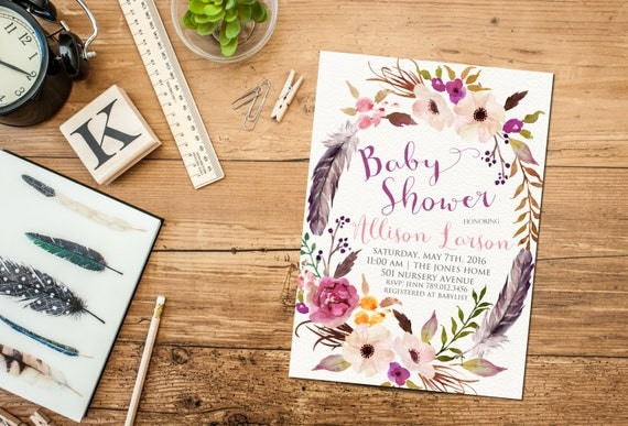Winter Baby Shower Invitation Printable, Boho Chic Feathers Floral Wreath Invite, Gender Neutral Colors, It's a Girl Baby Sprinkle