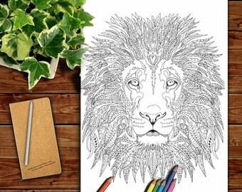 lion coloring pages printable adult coloring book lion clip art hand drawn original zentangle colouring page - Lion Coloring Pages For Adults