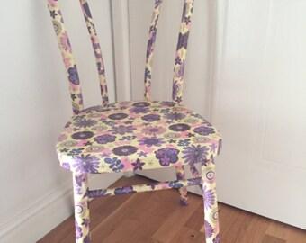 Decopatched/decoupaged Purple Flower retro  Design Bentwood Chair