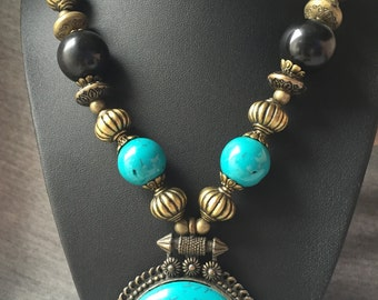 Boho Vintage Bold Faux Turquoise Pendant Necklace with Antiqued Gold Tone Beads