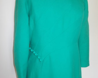 Vintage dress byCorinne 60s 70s jade green maxi dress with long sleeves evening dress size large