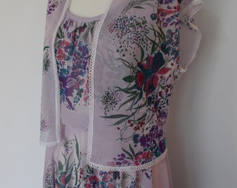 Vintage 70s floral lilac sundress with sleeveless cardigan hippie boho dress size small