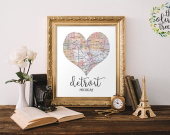 Heart Map print, printable map wall art decor, INSTANT DOWNLOAD - Detroit, Michigan