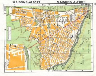 1977 Paris France Vintage Neighborhood Map, Maisons-Alfort
