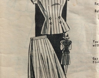 CLEARANCE!!  Mail order 8135 junior misses two-piece dress size 11 bust 29 vintage 1940's sewing pattern  Factory Folds