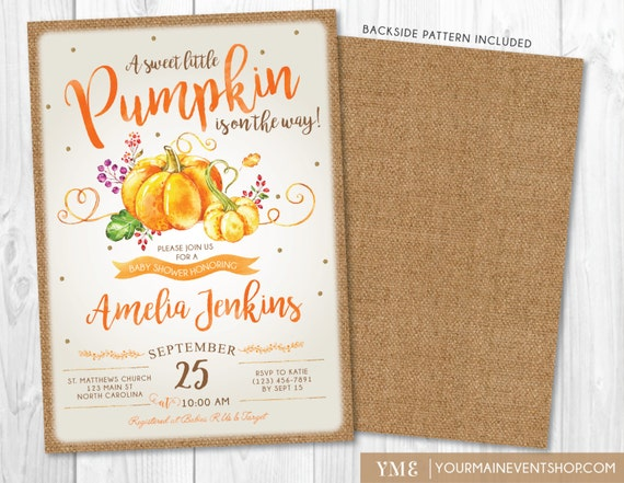 Pumpkin Baby Shower Invitation, Rustic Fall Baby Shower Invite, Burlap Autumn Shower, A Little Pumpkin Is On The Way • BS-F-01