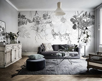 Dark White Floral Wallpaper Still Life Flowers Illustration Art Wall Mural Black Grey Taupe White Flower Blooms Leaves Wall Covering