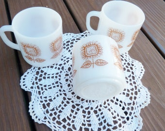 Federal Glass Brown Sunflower coffee cups