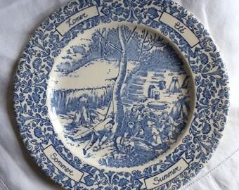 1970's English Ironstone Blue and White Scenic and Floral Plate