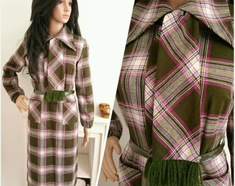 Vintage 70s Green Checked Scarf Wool Belted Shift Dress Mod Boho / UK 12 14 / EU 40 42 / US 8 10