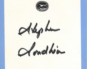 Stephen Sondheim Hand Signed Page.  Broadway Legend.  Tony, Oscar, Pulitzer and Grammy Winner.