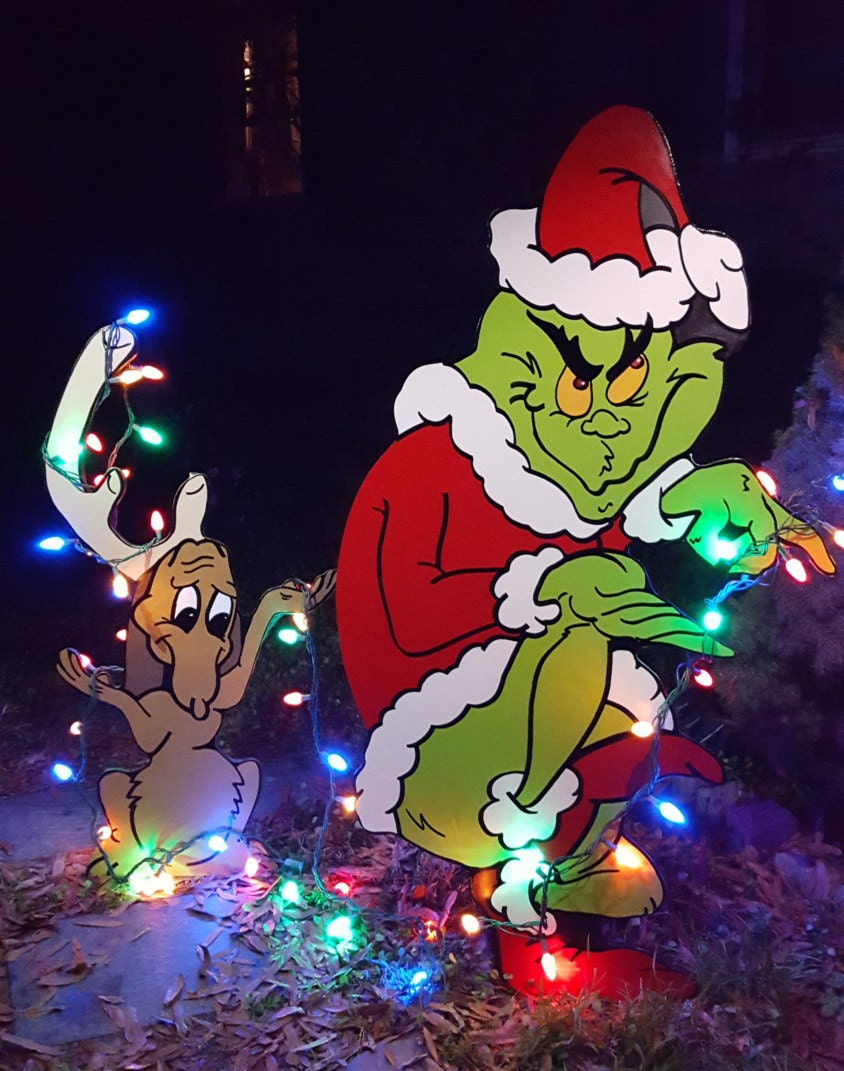 Grinch Yard art The Grinch and Max are stealing Christmas