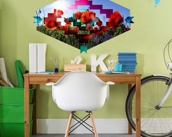 Southwest Poppy  Wall Decal - Southwest Floral Wall Decal by Chromantics