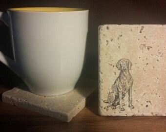 Set of 4 Weimaraner Tumbled  Stone Coasters