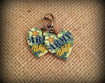 Army Wife Earrings - Army Wife Jewelry - Camouflage Earrings - Camouflage Jewelry - In The Army Now - Government Issue - Shrink Plastic