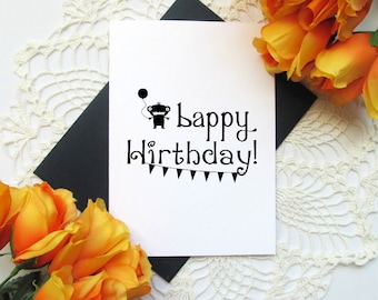 Funny Cute Monster Birthday Card - Bappy Hirthday