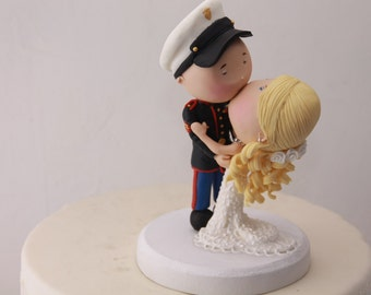 Romantic kiss  - Eyes closed. Marine Corps. Wedding cake topper. Wedding figurine. Handmade. Fully customizable. Unique keepsake
