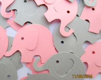 100 Hand Punched Pink And Gray Elephant Confetti Baby Girl Shower  Decorations Punched Elephant Die Cuts Pink Paper Elephants Baby Shower