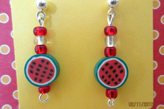 watermelon earrings childrens clip on earrings fruit. Black Bedroom Furniture Sets. Home Design Ideas