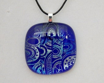 Blue and Silver Dichroic Glass Pendant