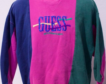 90s GUESS Blue-Pink-Green Color Blocking Crewneck Sweater Size Small
