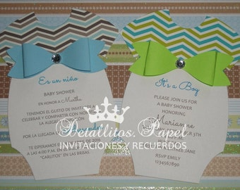 Onesie Invitation boy, Baby Shower invitation, Onesie invitation, Onesie Invitations