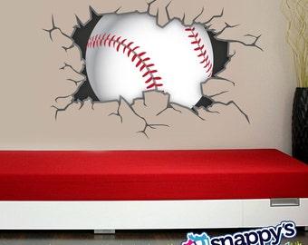 Baseball Breaking Through Bursting Shattering The Wall Decal For Boys Or Girls Room