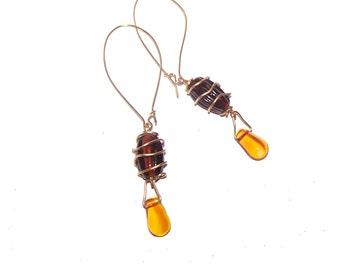 Brown Earrings - Yellow Earrings - Long Dangle Earrings - Wire Wrapped -  Lampwork Earrings -
