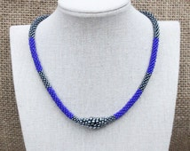 braided blue and hematite necklace, kumihimo necklace, seed bead necklace, tribal fusion ats necklace, braided beads jewelry, bead choker