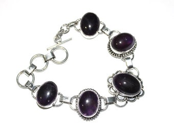 5 Stone Bracelet / Amethyst Hydro Quartz Bracelet / Fashion Jewelry, Fashion Bracelet / Gemstone Bracelet / Toggle Bracelet