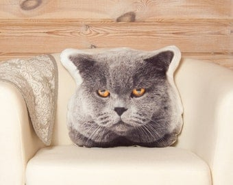 Grey Cat Pillow – Cat Head, Fan Whimsical Pillow, Animal Home ecor, Grumpy Cat