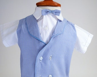 Baby Boy Clothes, 1970s, Blue Gingham Tuxedo Shirt, Vintage Baby Boy, Size 12 Months