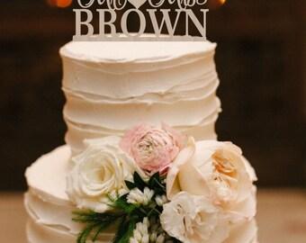 Wedding Cake Topper Mr & Mrs Surname Cake Topper Surname Wedding Sign Rustic Wedding Cake Topper Wood Silver Gold