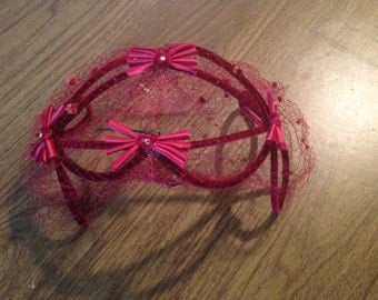 40s/50s Red Fascinator Caged Headband with Veil