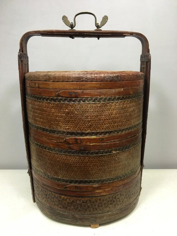 Basket Chinese Wedding Split Bamboo Basket Antique China Handmade Wedding Basket Newlyweds Food Unique P