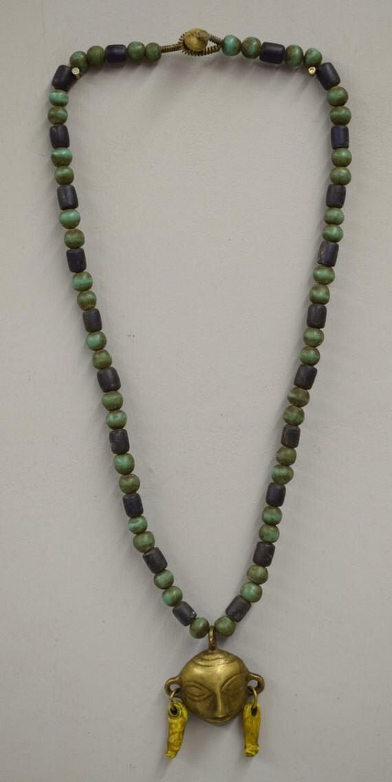 Naga Necklace Brass Head Pendant India Handmade Blue Green Beads Trophy Naga Brass Head Necklace Unique