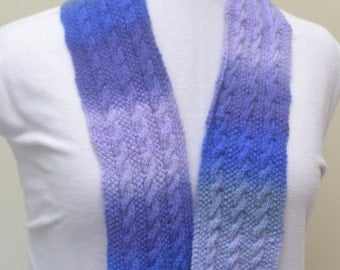 Hand knit reversible scarf, shades of blue and purple