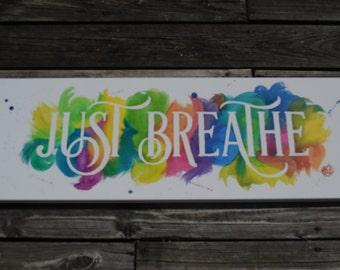 Just Breathe Acrylic Painting 12x36