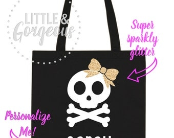 Halloween Candy Bag, Trick or Treat Bag, Halloween Tote Bag, Skull Bag, Kids Halloween Bag, Kids Trick or Treat Bag, Treat bag Halloween