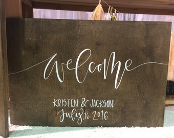 """Hand Lettered """"Welcome"""" Wedding Sign"""