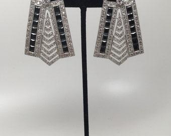 Vintage Art Deco Signed AB Black & Clear Rhinestones Geometric Design Earrings