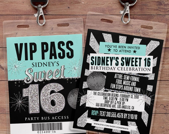 VIP PASS, 21st birthday, backstage pass, concert ticket, birthday invitation, wedding, baby shower, bachelorette party, party favor,